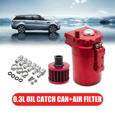 300 ml Oil Catch Can Reservoir Tank With Breather Filter Baffled Universal Red