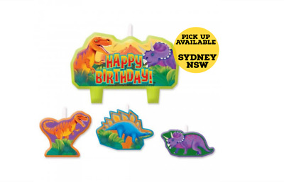 Dinosaur Candle Cake Set Birthday Party Supplies Pack of 4