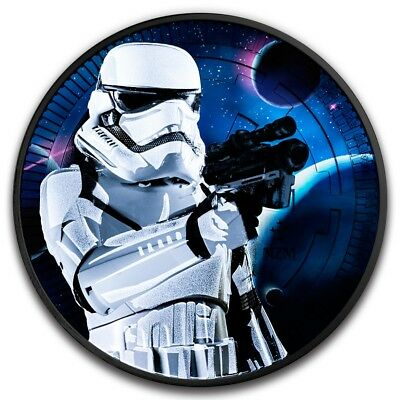 2 Dollar Star Wars Stormtrooper Black Coloured Niue Island 1 oz Silber 2018