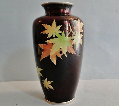 Finely Crafted Japanese Jinbari & Silver Wire Cloisonne Vase Rare Ivy Leaf Sato