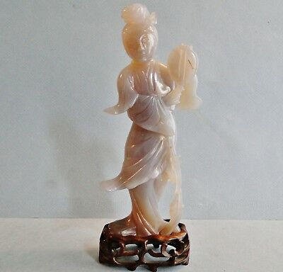 Antique Fine Chinese Carved Agate Figure Of Peking Beauty With Mirror Qing 1910
