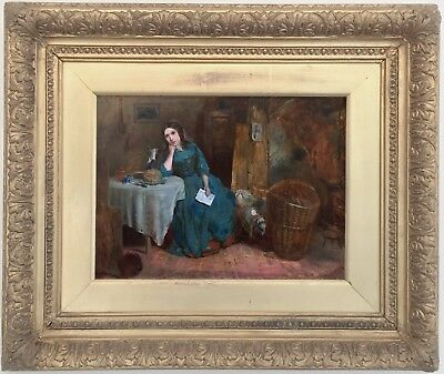 Young Beauty in Rustic Interior Antique Oil Painting 19th Century English School