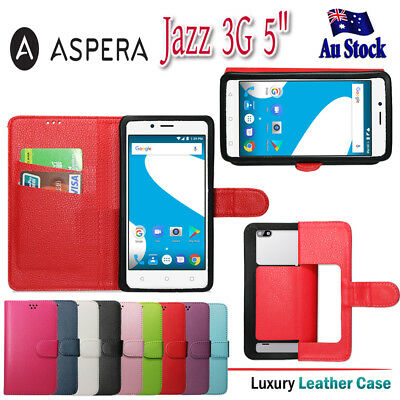 """For Aspera Jazz 3G 5"""" PU Universal Wallet Leather Flip Card Holder Case Cover"""