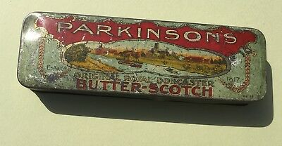 ANTIQUE TIN PARKINSONS BUTTERSCOTCH DONCASTER MEASURES 19 cm long x 6 cm wide