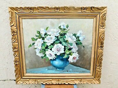 Magnificent Rare Romagnoli Still Life Floral Painting - Oil on Canvas - Signed