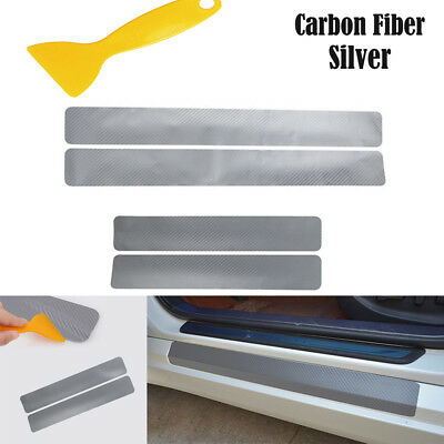 1Set Car Door Sill Scuff Carbon Fiber Stickers Welcome Pedal Protect Accessories