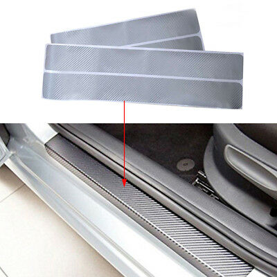 4 Pcs Car Door Sill Scuff Carbon Fiber Sticker Welcome Pedal Protect Accessories