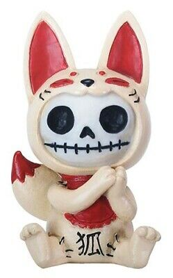FurryBones Kitsune Figurine Japanese Fox Cute Cool Gift Skull Skeleton Gothic