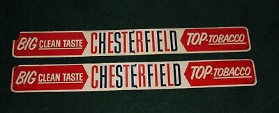 """TWO Vintage Chesterfield Top Tobacco Cigarettes Door Push Signs 191/2' X 2 ¼"""""""