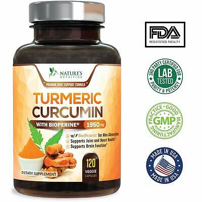 Tumeric Curcumin Max Potency With Bioperine Black Pepper 1950 Mg 120 Capsules