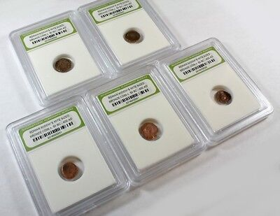 Slabbed Lot of 5 Ancient Roman Widows Mite Sized Bronze Coins c 50 BC - 400 AD c