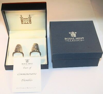 Pair of Royal Mint Silver Thimbles, Queens 80th. Birthday Limited Edition of 500