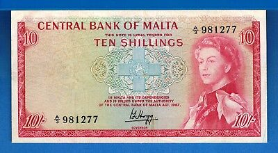 Malta P-28a Ten Shillings L1967 (1968) Queen Circulated Banknote