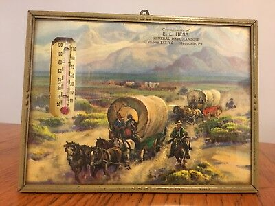 Vtg Store Advertising Thermometer Hessdale PA Conestoga Wagon Horse Cowboy
