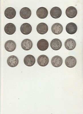 Lot of 20 Barber half dollars silver lot #6