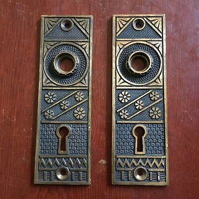 Antique Pair Of BEAUTIFUL F.C. LINDE CAST BRASS BACKPLATE