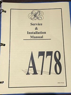 Rodgers A-778 Service &  Installation Manual