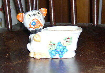 Vintage French Bulldog- Bully Frenchie Eating Blueberries-Figure-Figurine