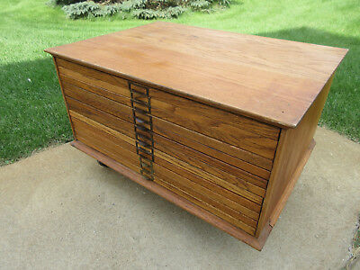 Wood Map Cabinet / Flat File Cabinet - 12 Drawer