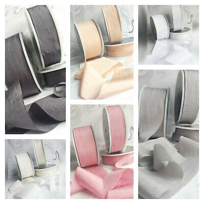 13, 25,38mm Faux Silk Ribbon. Wedding Pink Ivory Red White Grey Blue Nude Silky