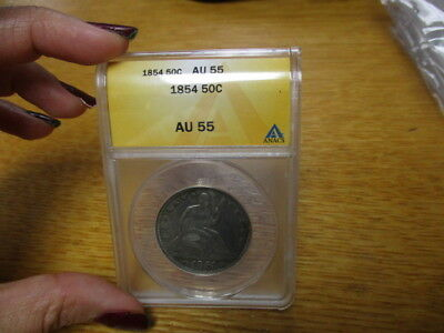 1854 Liberty Seated half dollar  ANACS AU-55