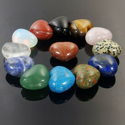 Hand Carved Puffy Heart 30mm assorted Natural Gemstone Reiki Crystal Healing