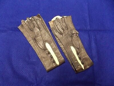"Connie Boswell Glove Collection Vintage ""Real Kid"" Blk Leather Gloves Size 6 3/4"