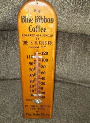 Vintage Wood Thermometer Blue Ribbon Coffee F H Cobb Cortland Ny Roasted