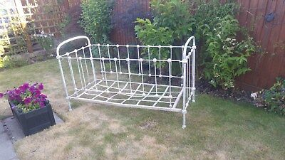 Victorian iron child cot bed. Semi restored. Add your own top colour