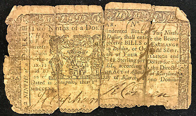 1770 Continental Currency 2/9 Two Ninths of One Dollar Maryland No Minimum