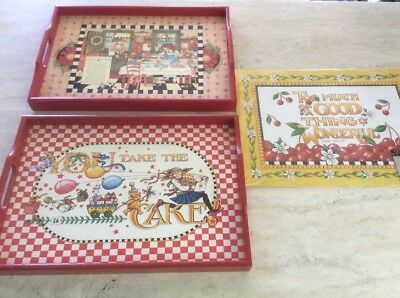 2 Mary Engelbreit Wooden Trays You Take The Cake Recipe For Happiness 6 Placemat