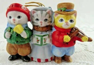 Vintage Schmid Kitty Cat Corolers Ornament Violin Bell - Kitty Cucumber 1989