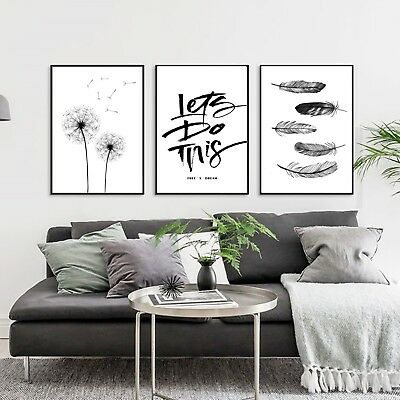 Abstract Black White Art Silk Canvas Nordic Poster Painting Decor Unframed A261