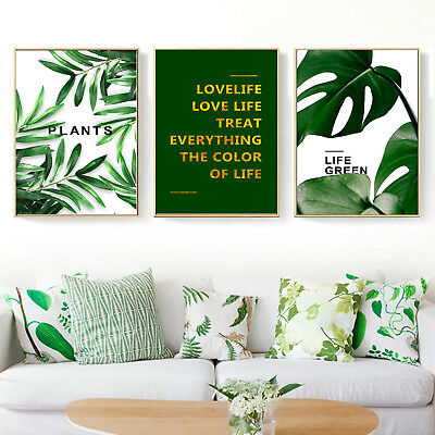 Life Green Motivational Quote Art Canvas Nordic Poster Paint Decor Unframed A251