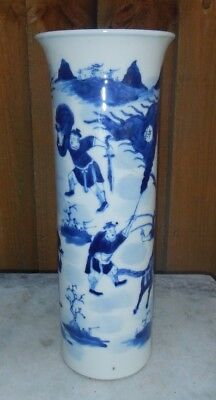 19Th C Chinese Blue & White Hand Painted Porcelain Sleeve Vase~Fighting Warriors