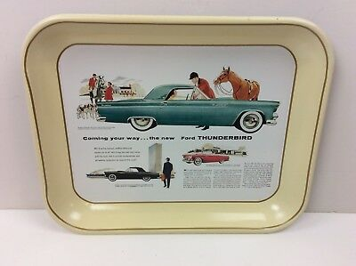 Vintage 1970's Ford Advertising Metal Tray The New 1955 Ford Thunderbird Ad