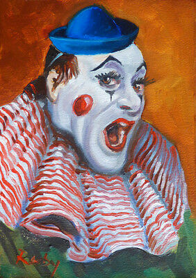 Vintage Clown - Oil Painting on Panel - Original Art from Ireland FREE SHIPPING