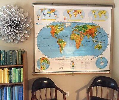 2 layer Nystrom Pull Down World & United States Map School Classroom Map 1SR991