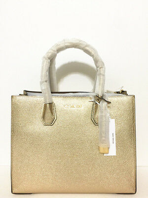b12626172a7050 NWT MICHAEL MICHAEL KORS Mercer Large Convertible Leather Tote Bag Pale Gold  - $139.00   PicClick