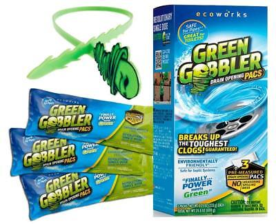 Green Gobbler Drain Opener Pacs for Drain and Toilet Clogs, 3 Pac with fr... New