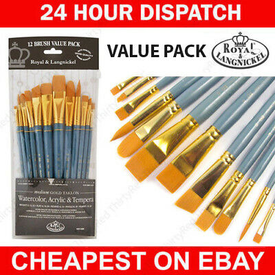 Royal Set of 12 Large Gold Artists Brushes. For Watercolour & Acrylic Painting