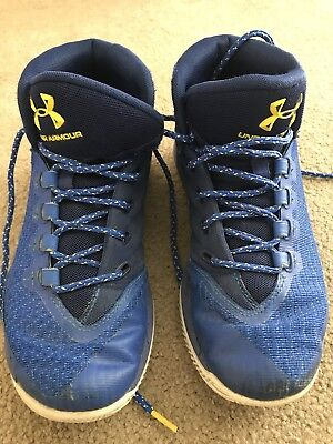 a991421a72e1 Men s Size 7 Under Armour UA Steph Curry 3 Blue Basketball Sneakers Shoes  USED.