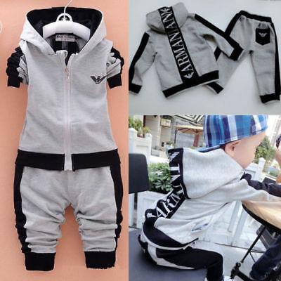 HOT Long Sleeves Tracksuit Sweater 2pcs Boys Clothing Outfits Hat Set Warm Style