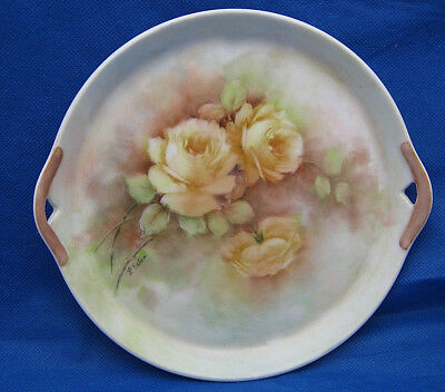 """Small Handled Porcelain Tray Hand Painted YELLOW ROSES Signed Artist 7.5"""" FAB"""