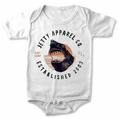 Jetty Infant East Coast Shark S/S Bodysuit One Piece Baby White Size 6-12M New