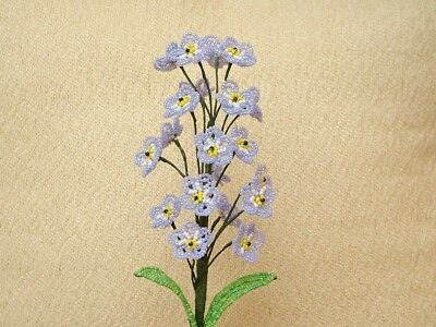 """** French Beaded Flowers ** Handmade Lavender """"Forget Me Not"""" Sprig **"""