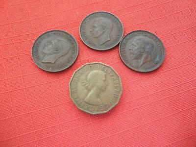 3 British Farthings 1936,1937,1941 + 1956 Three Pence Pre Decimal