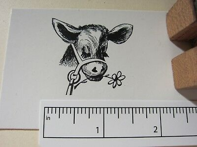 "Printing Letterpress Printers Block, Printers Cut, ""Cow with Daisy"", Zinc"