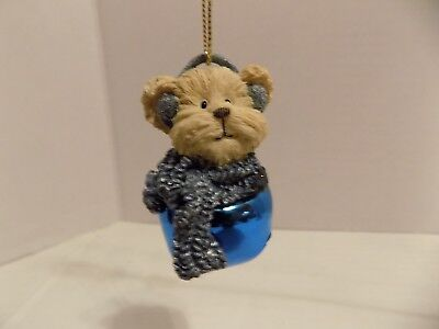 Boyds Bears JINGLE BELL Ornament The Bearstone Collection Blue Bell