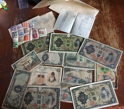 Vintage Japanese Paper Money & Postage Stamps !!!